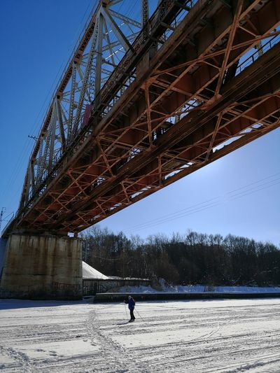 Ski Track Ski Holiday Skiing Frozen River Skier Outdoors Blue Sky Frosen River Cold Temperature Bridge - Man Made Structure Industry Sky Architecture Built Structure Snow Covered Snow Winter Frozen Frozen Lake Season  Weather Condition Cold Shore
