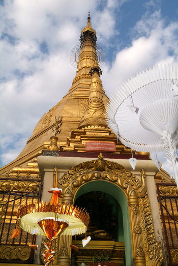 Yangon Architecture Building Exterior Built Structure Burma Cloud - Sky Day Gold Colored Low Angle View Myanmar No People Outdoors Place Of Worship Religion Sky Spirituality Statue Sule Paya