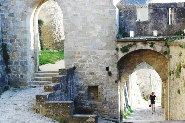 Arch Architecture History Built Structure Full Length One Person Old Ruin Day Real People Ancient Castle Building Exterior Lifestyles Men Indoors  One Man Only Adult People Adults Only France Carcassone, France Castle