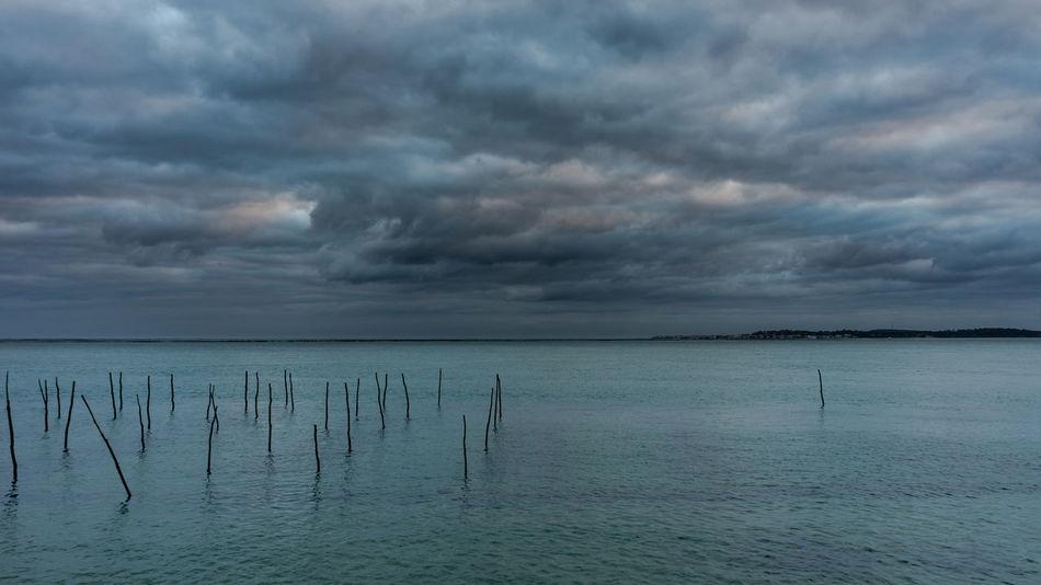 Bassin D'Arcachon Parc à Huitres Journée D'automne Water Beauty In Nature Nature Sky Cloud - Sky
