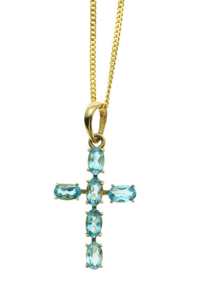 blue topaz cross Christian Kreuzberg Necklaces Pendant Blue Christian Jewelry Close-up Gems Gemstones Gold Gold Colored Jewelry Kreuzanhänger Luxury Necklace Religion Schmuck Studio Shot Topaz White Background