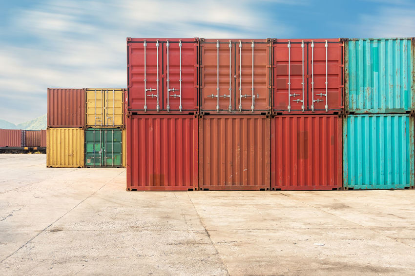 Container stack Logistics Business Cargo Container Close-up Cloud - Sky Commercial Dock Container Day Distribution Warehouse Freight Transportation Harbor Industry Large Group Of Objects Outdoors Sea Freight Shipping  Shipping Yard Shipyard Sky Stack Storage Compartment Transportation Warehouse