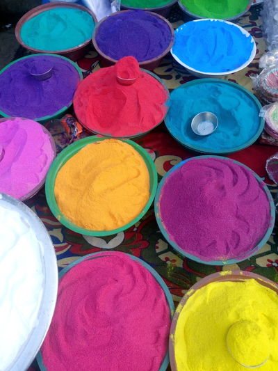 Art And Craft, Choice Circle Day Diwali Hat Holi Indian Culture, Market Market Stall Merchandise Multi Colored No People Outdoors Powder Paint Religion Retail  Variation Vehicle Breakdown Vertical