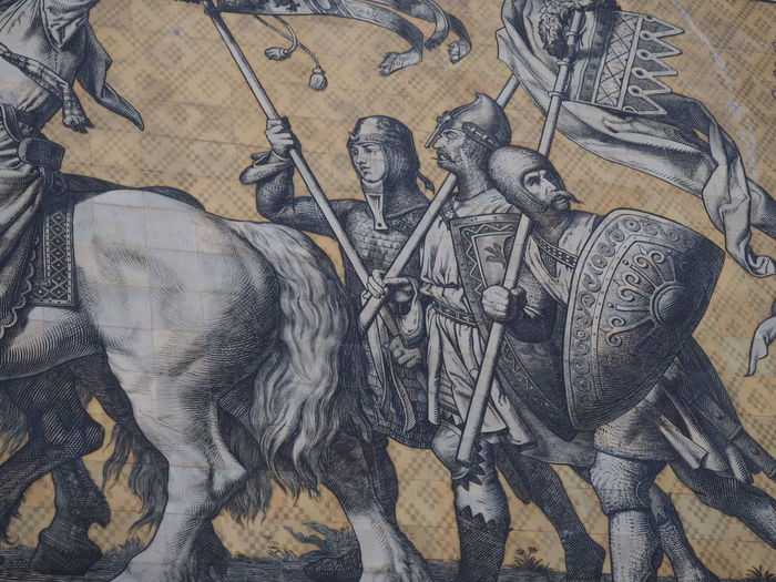 Ancient Civilization Art And Craft Crusade Day Horse Human Representation Indoors  Knight  No People Sculpture Statue War Weapon