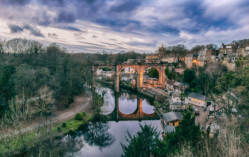Forget your sorrow in Knaresborough, the world will look already much brighter tomorrow. Winter Wintertime Sky And Clouds Sky Yorkshire River Nidd North Yorkshire Reflection Reflections In The Water Scenics Landscape Architecture Architecture_collection Knaresborough Knaresborough Viaduct United Kingdom England Great Britain Europe Arch Bridge Railway Bridge