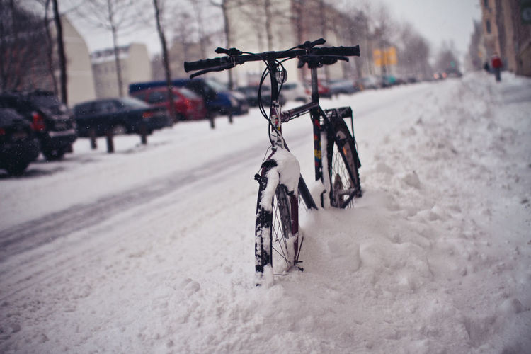 Bicycle on snow covered road