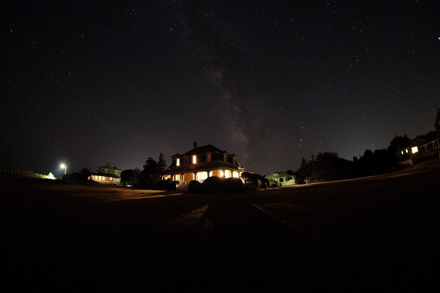House on the Hill Night Architecture Illuminated House Star - Space Outdoors Star Field Sky Overnight Success