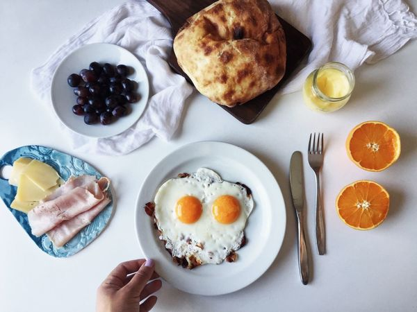 Breakfast Brunch Egg Yolk Food Food And Drink Food Styling Freshness Fried Egg Healthy Eating High Angle View Plate Ready-to-eat Fresh On Market 2017