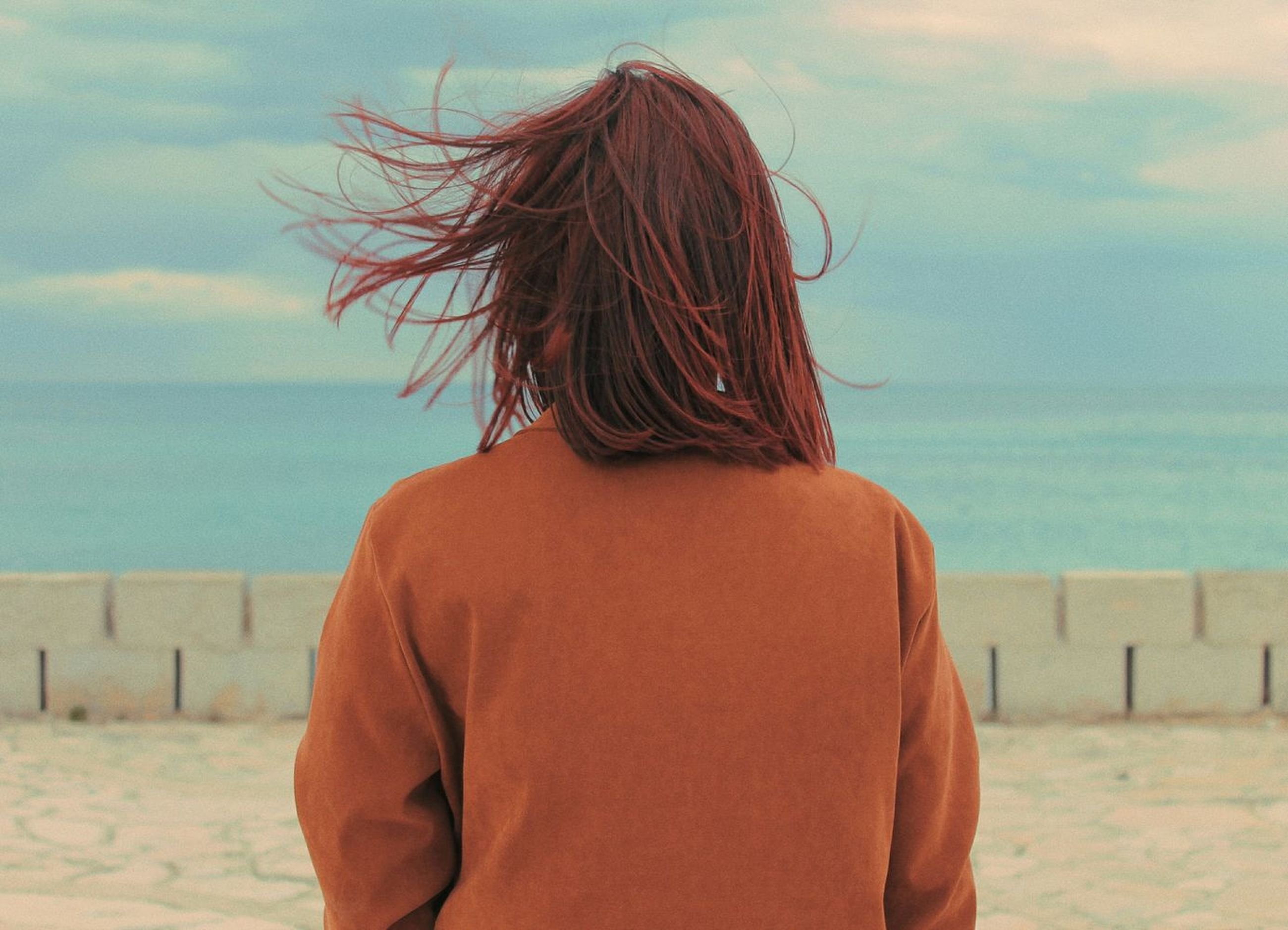 rear view, sea, one person, land, beach, water, real people, sky, hair, hairstyle, sand, lifestyles, leisure activity, nature, horizon over water, horizon, adult, standing, outdoors