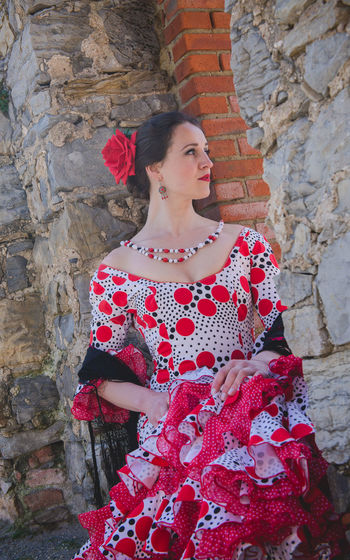 Andalucía Flamenco Spanish Woman Architecture Beautiful Woman Built Structure Day Lifestyles One Person Outdoors People Real People Red Smiling Standing Young Adult Young Women