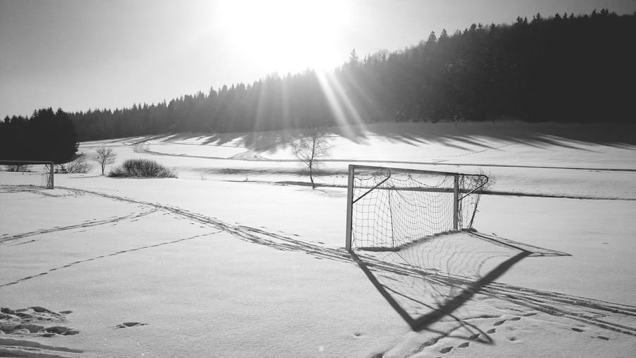 Closed // Cold Temperature Snow Winter Outdoors Sunlight No People Landscape Nature Day Nature Weather Snow Covered ForTheLoveOfPhotography Quiet Moments Fortheloversofblackandwhite Black&white Bnw Football Goal Sports Saison Closed Field Winter Sports Light And Shadow The Great Outdoors - 2017 EyeEm Awards Shades Of Winter