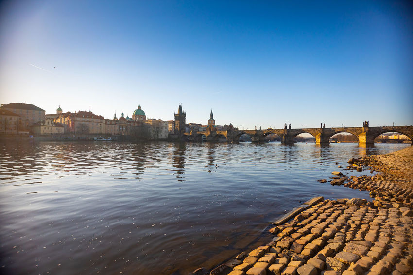 Czech Republic Prague Arch Bridge Architecture Bridge Bridge - Man Made Structure Building Building Exterior Built Structure City Clear Sky Connection Copy Space Day Nature No People Outdoors Reflection River Sky Water Waterfront
