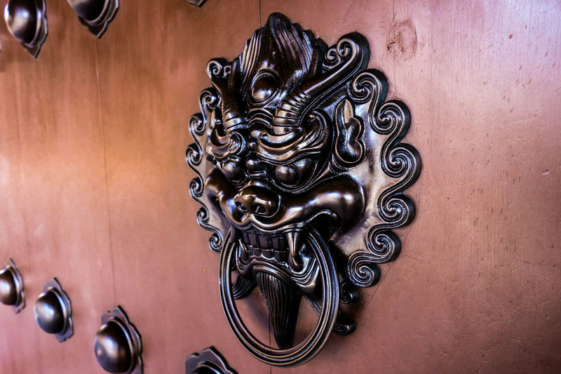 Door Handle Door Knob Architecture Buddhist Culture Asian  Craft Wood CAST Iron Hong Kong Buddhism Chinese Chi Lin Nunnery Nunnery Buddha Temple