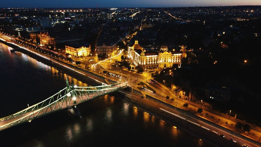 Photo on drone night life in budapest
