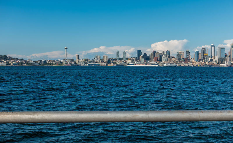 Railing and Seattle sklyine. Architecture Cityscape Pacific Northwest Beauty Seattle Skyline Skyscrapers Landscape Outdoors Travel Destinations Water