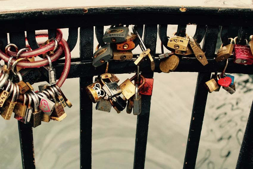 Finding love in Copenhagen, Denmark.. Waiting for love. Close-up Day Lock Love Love Lock Metal Multi Colored No People Outdoors Safety