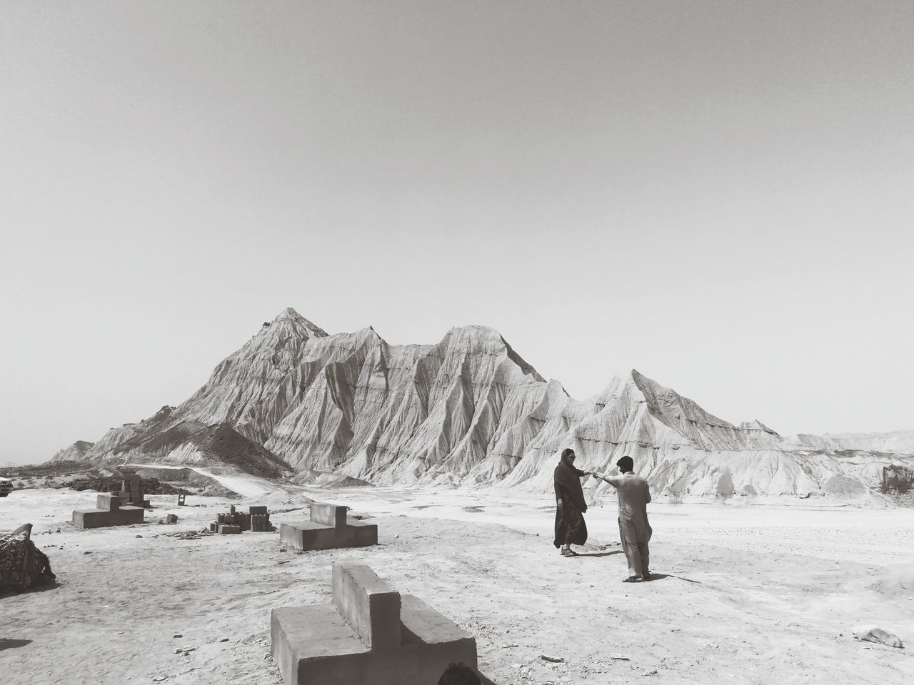People standing at desert