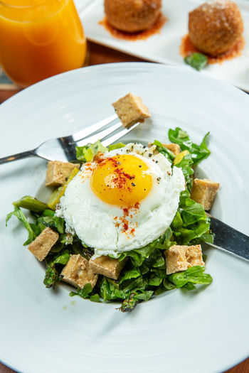 Food And Drink Food Egg Healthy Eating Ready-to-eat Meal Wellbeing Freshness Breakfast Plate Fried Egg Table Bread Fried Indoors  Still Life Vegetable Eating Utensil No People High Angle View Egg Yolk Table Knife Garnish Temptation Sunny Side Up