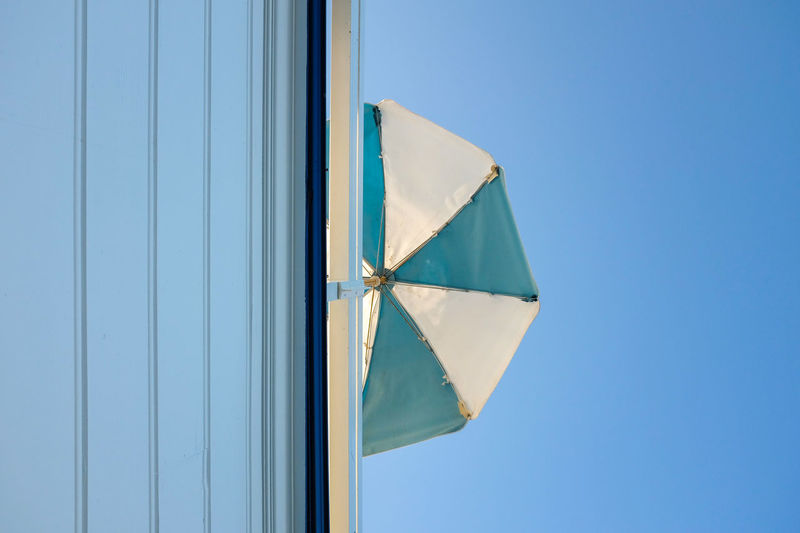 Blue Sky Clear Sky No People Low Angle View Umbrella Shape Pattern Wall Split Minimalism Minimal Minimalist Architecture Shades