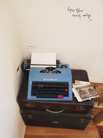 an old typewriter Book Cafe Vintage Style Blue Typewriter Record Keyboard Typescript