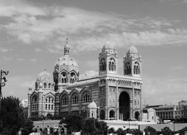 Marseille Marseille, France France 🇫🇷 Südfrankreich Church Architecture Chatedral Blackandwhite Photography Schwarzweißfotografie Architecture Business Finance And Industry Politics And Government Building Exterior Government No People City Outdoors Day Sky Tree