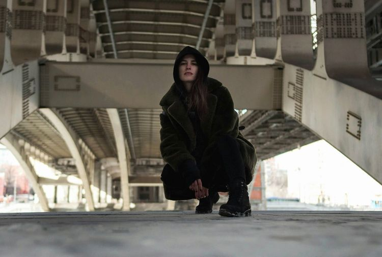 City Bridge Under The Bridge One Woman Only One Person Beautiful People Beautiful Woman City Winter Warm Clothing Cold Temperature Urban Lifestyle Urbanphotography Urban Fashion Real People City Life Russia Moscow Life Moscow City Urban Style