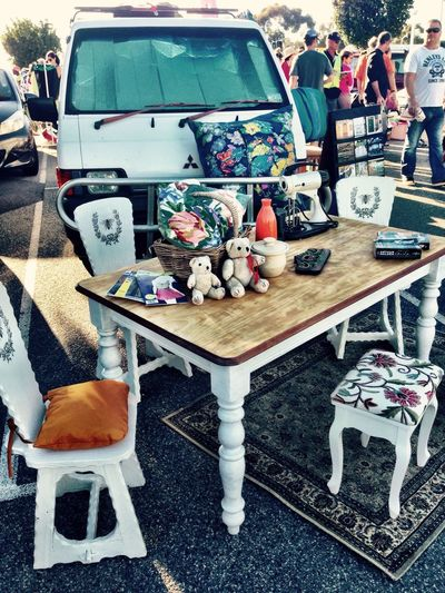 Vintage Market Market Stall People Wooden Table Camper Old Old-fashioned Style Vintage Shopping Sunday Sunny Day Memories Showcase April