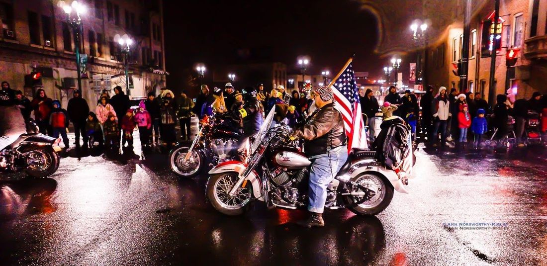 "©ann norsworthy ""m o o s e t r a x @ E r i e & S t a t e"" Parade Motorcycle Night Lights IoLIGHTstudios"