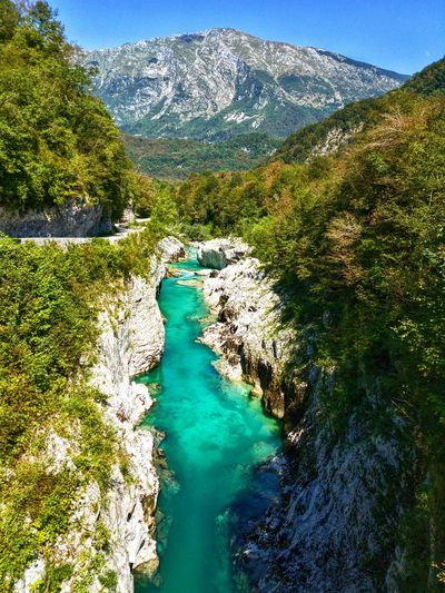 Mountain Tranquil Scene Water Scenics Non-urban Scene Tranquility Beauty In Nature Landscape Idyllic Travel Destinations Tourism River Green Color Outdoors Kobarid Slovenia Majestic A Bird's Eye View Isonzo Flying High