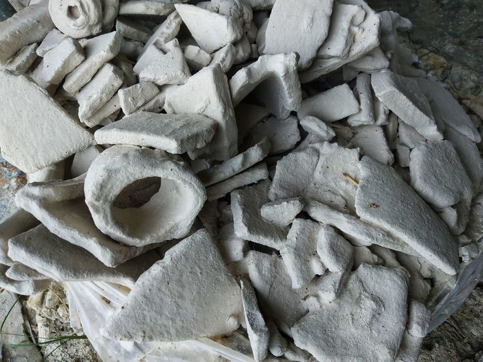 The soil from the ceramic production. Backgrounds Stack Full Frame Heap High Angle View Pile Close-up