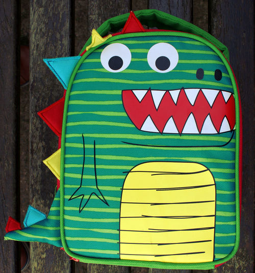 A dinosaur lunchbag Dinosaur Lunch Bag Animal Representation Art And Craft Celebration Close-up Communication Craft Creativity Day Design Dinosaur Lunch Bag Green Color Multi Colored No People Outdoors Red Representation Still Life Table Wood - Material Yellow
