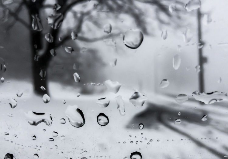 Full frame shot of water drops on glass window