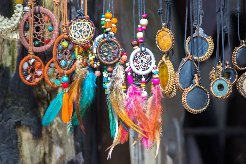 Close-up of dreamcatchers in store for sale