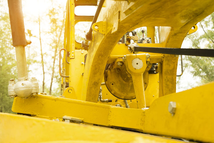 The old machinery for digging the ground in the ground. Bulldozer Construction Excavator Heavy Industrial Machine Backhoe Bucket Building Day Development Dig Dirt Equipment Ground Industry Land Vehicle Machine Part Machinery Metal Mode Of Transportation No People Old Outdoors Road Machinery