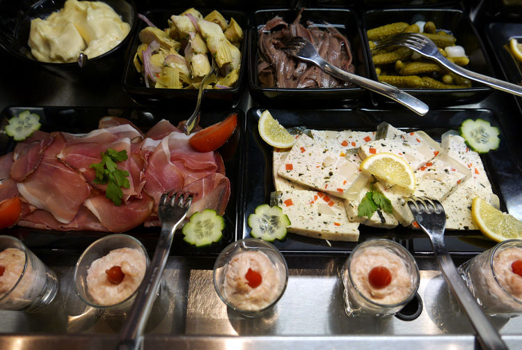 High angle view of buffet on table