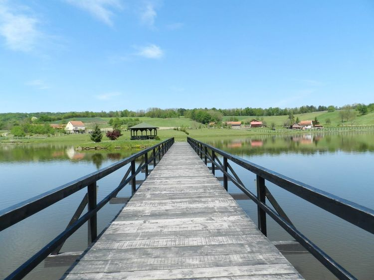 Architecture Beauty In Nature Blue Built Structure Clear Sky Day Jetty Lake Nature No People Outdoors Pier Podgarić Railing Reflection Scenics Sky The Way Forward Tranquil Scene Tranquility Tree Water