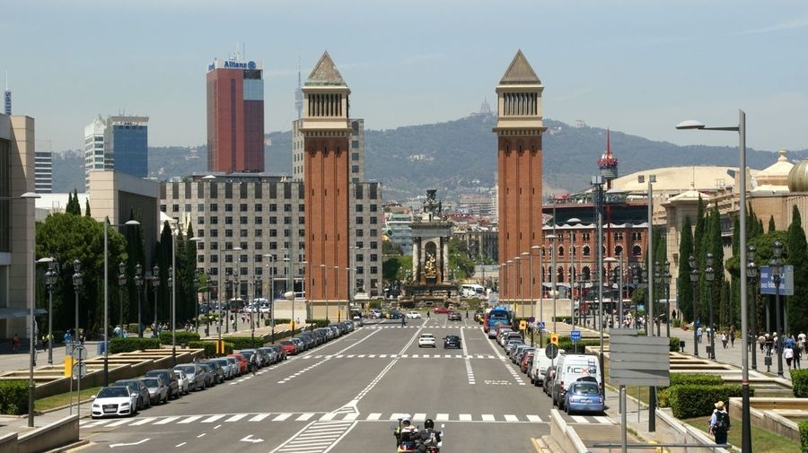 ViewofEspanya Square from Montjuic . Barcelona Catalunya . Sony A350 City Tourist Attraction  Towers Historic Site Tourist Destination Monuments Landmark Tibidabo Tourism Perspective Streetphotography Street Photography Historical Building Street Architecture Photography Architecture Buildings Showcase July