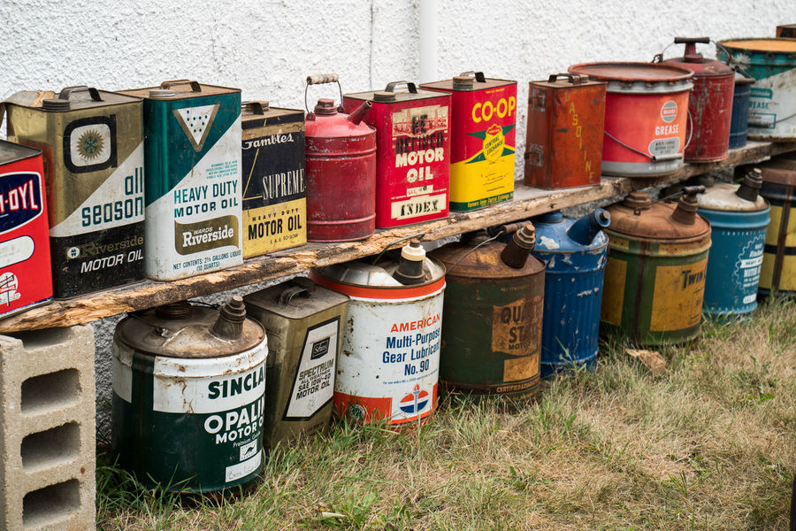 Container In A Row Large Group Of Objects Multi Colored No People Oil Can Vintage