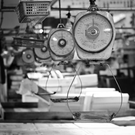 Empty Fishmarket Tokyo Industry Factory Japan Metal Equipment No People Weight Scale Tokyo Fishmarket Empty Fishmarket Nature Of Being Machinery Focus On Foreground Indoors  Instrument Of Measurement Control