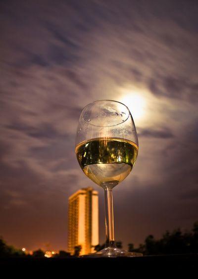 Alcohol City Close-up Cloud - Sky Crystal Glassware Leeds Nature Night No People Outdoors Reflection Single Object Sky Sunset Wine Wineglass