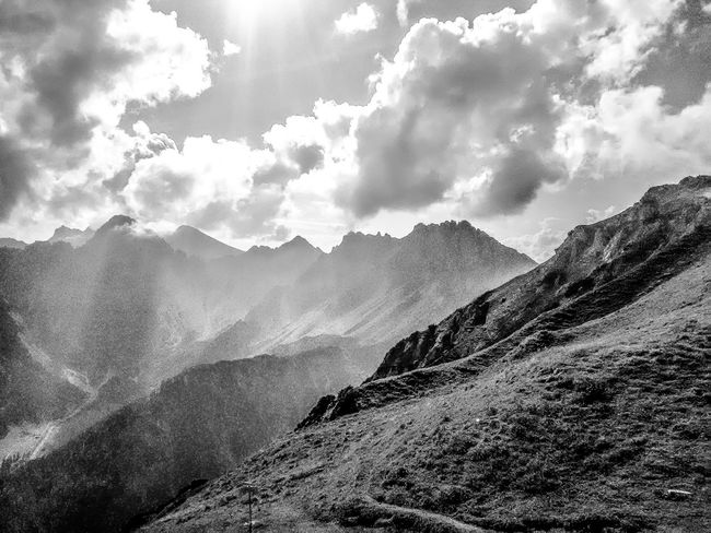Alps in Black and White EyeEm Best Shots EyeEm Nature Lover EyeEmBestPics EyeEm Best Shots - Nature EyeEm Best Shots - Black + White Mountain Nature Beauty In Nature Mountain Range Sky No People Tranquility Day Tranquil Scene Scenics Cloud - Sky Outdoors Landscape Range