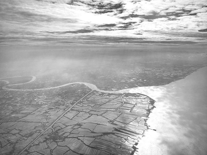 Aerial view of landscape and sea