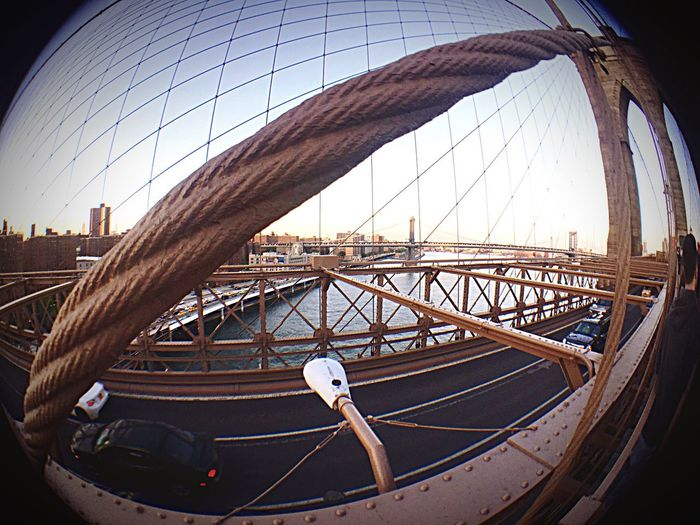 On the Brooklyn Bridge...looking over to the Manhattan Bridge... Olloclip Fisheye
