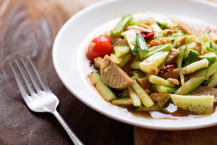 Thai ASIA Asian  Chili  Cooking Cucumber Cuisine Delicious Diet Dish Eating Food Fork Fresh Gourmet Green Healthy Lunch Meal Plate Pork Salad Sausage Spicy Vegetable Wood Wooden Eating Utensil Ready-to-eat Kitchen Utensil Healthy Eating Wellbeing Indoors