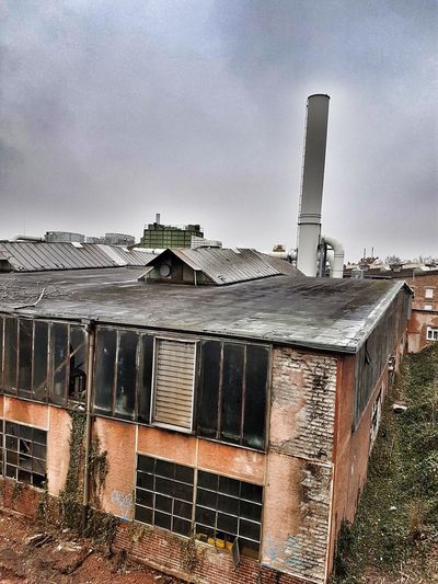 Abandoned Run-down Decrepit Sky Architecture Building Exterior Built Structure Smoke Stack Factory Industrial Building