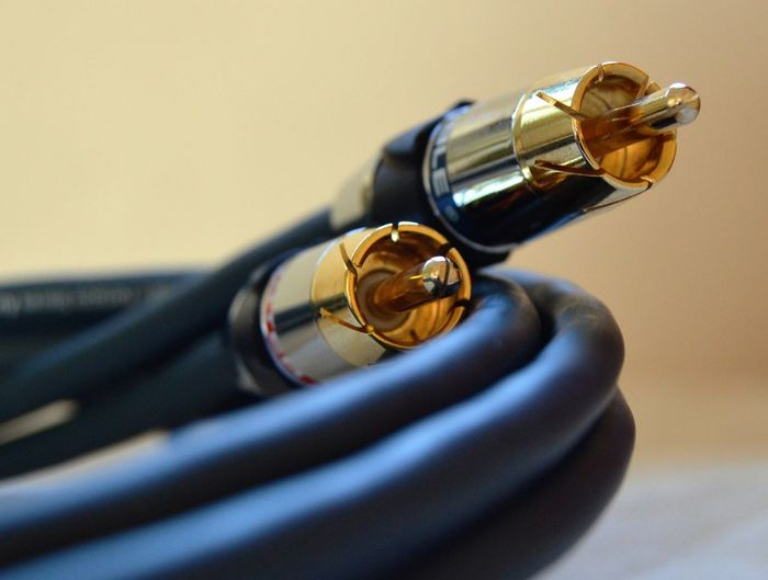 Close-up of audio cable