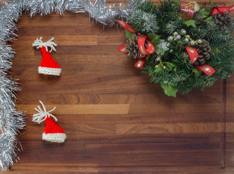 wooden board with decorations to celebrate Christmas Background Cap Celebration Christmas Claus Cooking December Decoration Kitchen No People Star Wooden Xmas