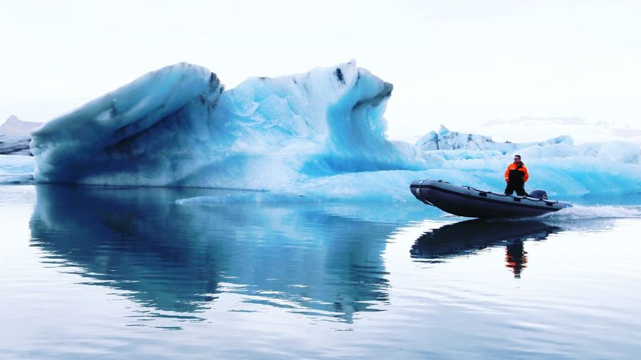 Cold Temperature Adventure Winter Ice Nautical Vessel Nature Snow Water Frozen Outdoors Beauty In Nature Iceberg - Ice Formation Day Glacier Transportation Leisure Activity One Person Kayak Oar Sport Floating On Water Travel Iceland Landscape Nature