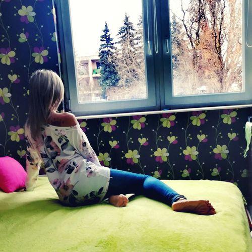 Blond Hair Child Childhood Full Length Sitting Window Girls