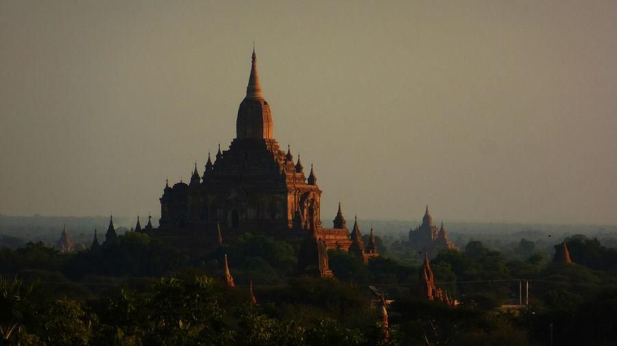 View of pagoda at sunset